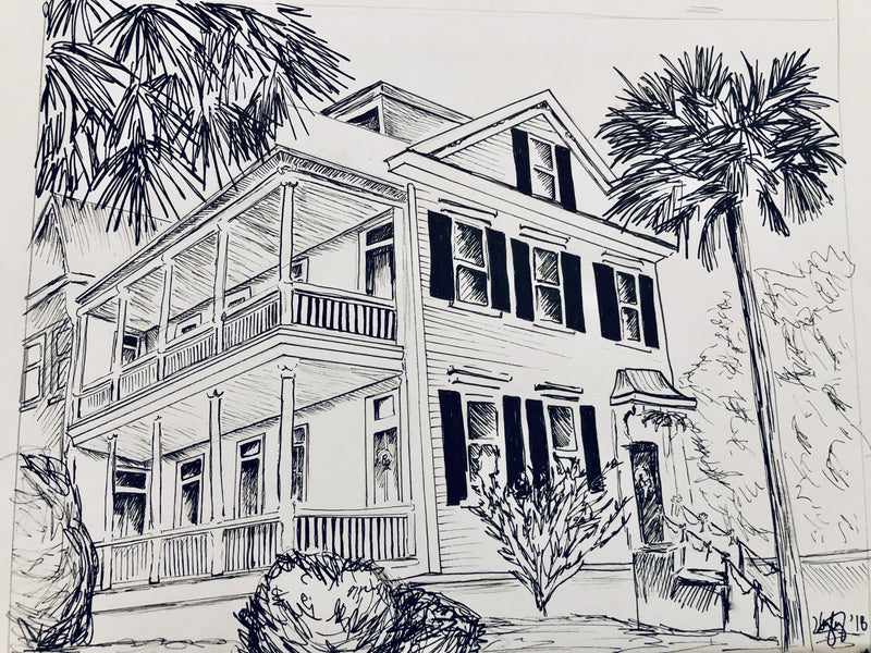 Custom House Drawing by Hayley Price 8 x 10 pen and ink on paper