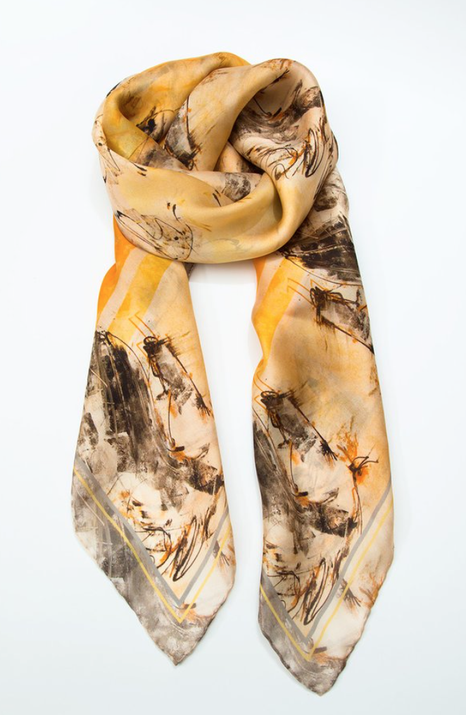 Sun Stallion Wrist/Mini Scarf by Donna Bernstein 20 x 20  100% silk   Designed from her original painting.