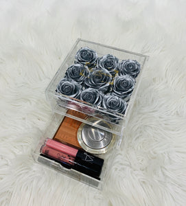 Clear Acrylic Box With Drawer - Medium - Silver Roses