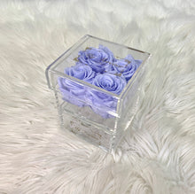 Load image into Gallery viewer, Clear Acrylic Box With Drawer - Small - Lavender Haze Roses