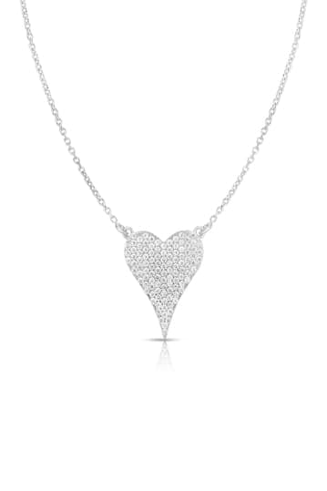 14K White Gold Plated Sterling Silver Heart Pendant Necklace