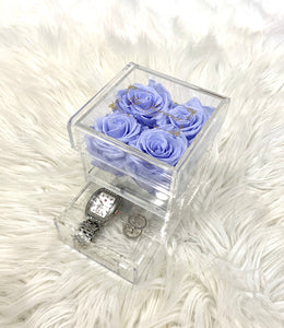Clear Acrylic Box With Drawer - Small - Lavender Haze Roses