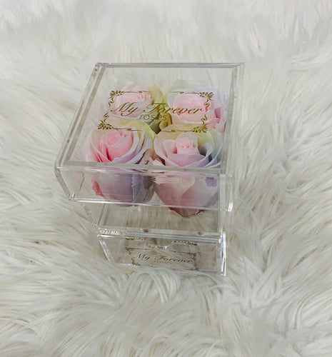 Clear Acrylic Box  With Drawer - Small - Tie Dye Roses
