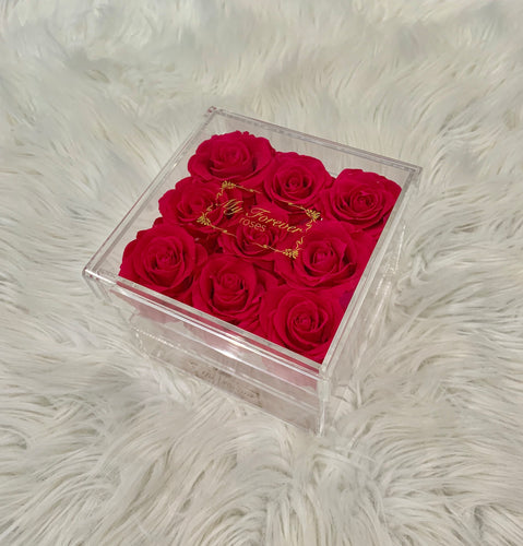 Clear Acrylic Box With Drawer - Medium - Hot Pink Roses