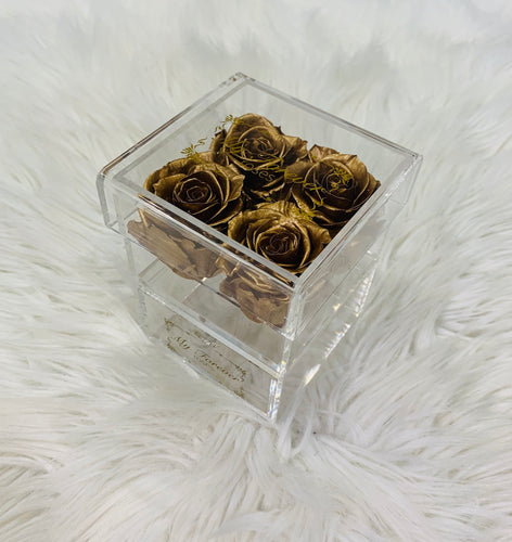 Clear Acrylic Box With Drawer - Small - Gold Roses