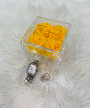 Load image into Gallery viewer, Clear Acrylic Box With Drawer - Small - Yellow Roses