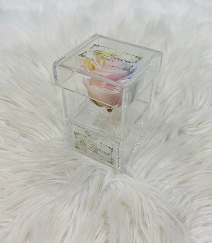 Clear Acrylic Box With Drawer - Tie Dye Rose