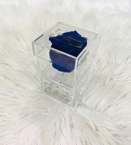 Clear Acrylic Box With Drawer - Royal Blue Rose