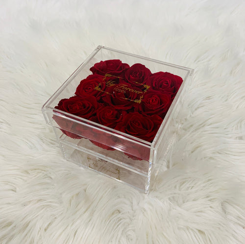 Clear Acrylic Box With Drawer - Medium - Red Roses