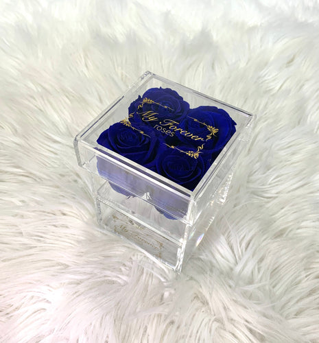 Clear Acrylic Box  With Drawer -  Small - Royal Blue Roses