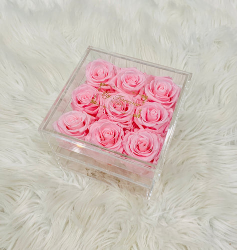 Clear Acrylic Box With Drawer - Medium - Light Pink Roses