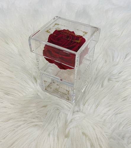 Clear Acrylic Box With Drawer - Red Rose