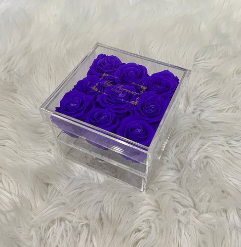 Clear Acrylic Box With Drawer - Medium - Purple Roses