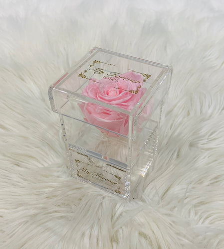 Clear Acrylic Box With Drawer - Light Pink Rose