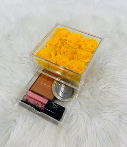 Clear Acrylic Box With Drawer - Medium - Yellow Roses
