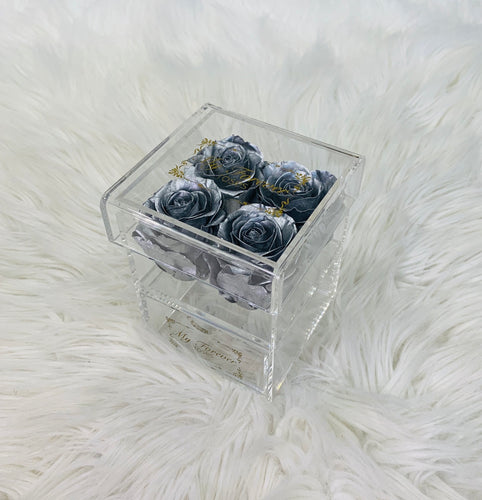 Clear Acrylic Box  With Drawer -  Small - Silver Roses