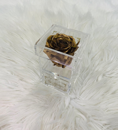 Clear Acrylic Box With Drawer - Gold Rose