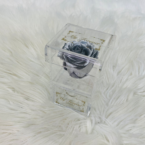 Clear Acrylic Box With Drawer - Silver Rose