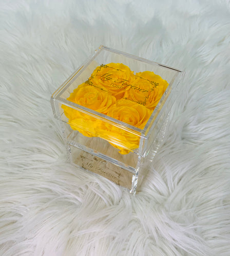 Clear Acrylic Box With Drawer - Small - Yellow Roses