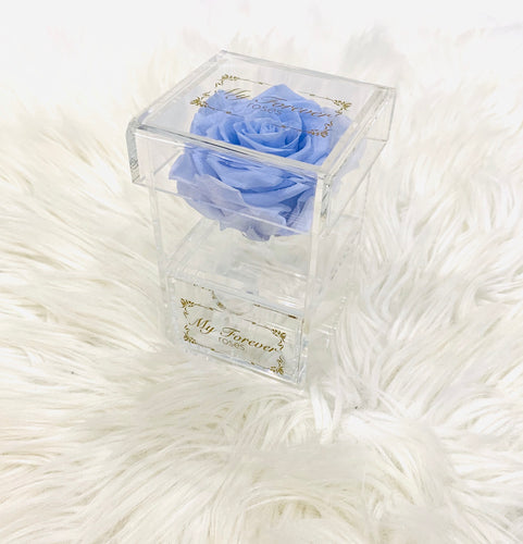 Clear Acrylic Box With Drawer - Lavender Haze Rose