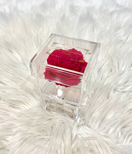 Clear Acrylic Box With Drawer - Hot Pink Rose