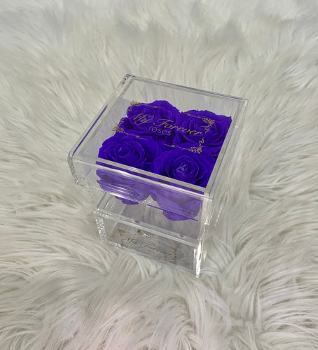 Clear Acrylic Box With Drawer -  Small - Purple Roses