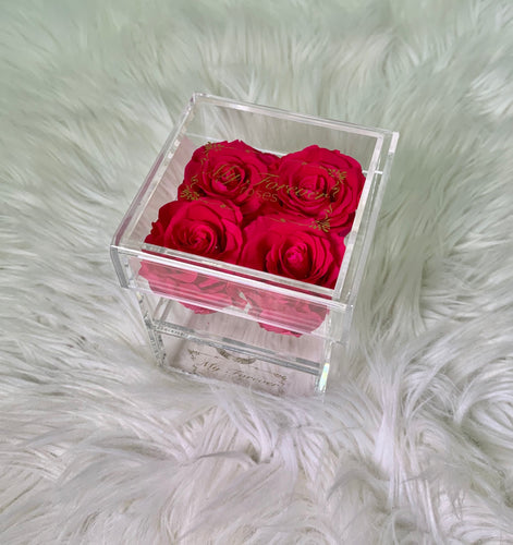 Clear Acrylic Box With Drawer - Small - Hot Pink Roses