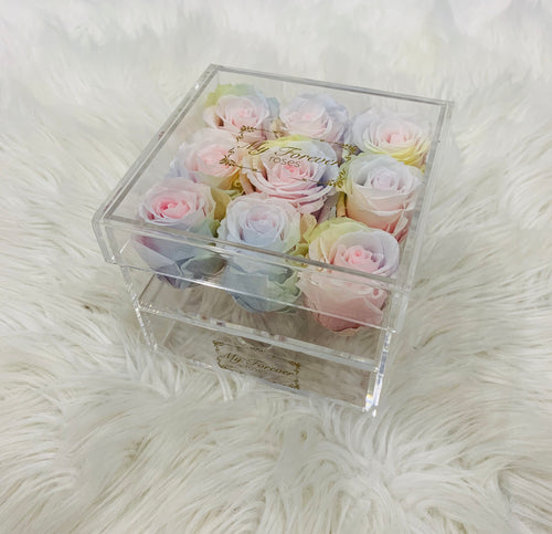 Clear Acrylic Box With Drawer - Medium - Tie Dye Roses