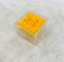 Load image into Gallery viewer, Clear Acrylic Box With Drawer - Medium - Yellow Roses