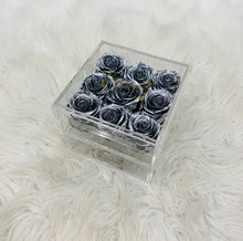 Load image into Gallery viewer, Clear Acrylic Box With Drawer - Medium - Silver Roses