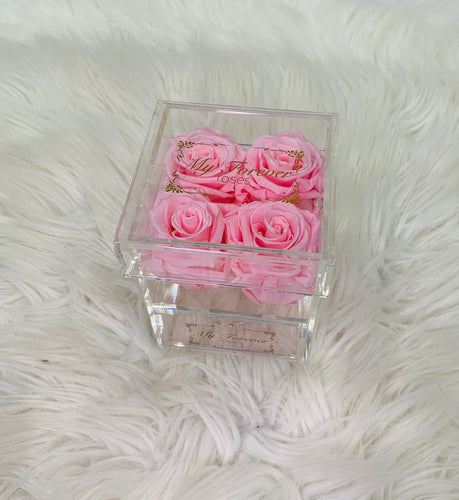 Clear Acrylic Box With Drawer -  Small - Light Pink Roses