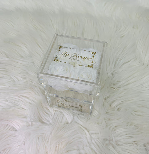Clear Acrylic Box With Drawer -  Small - White Roses