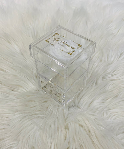 Clear Acrylic Box With Drawer - White Rose