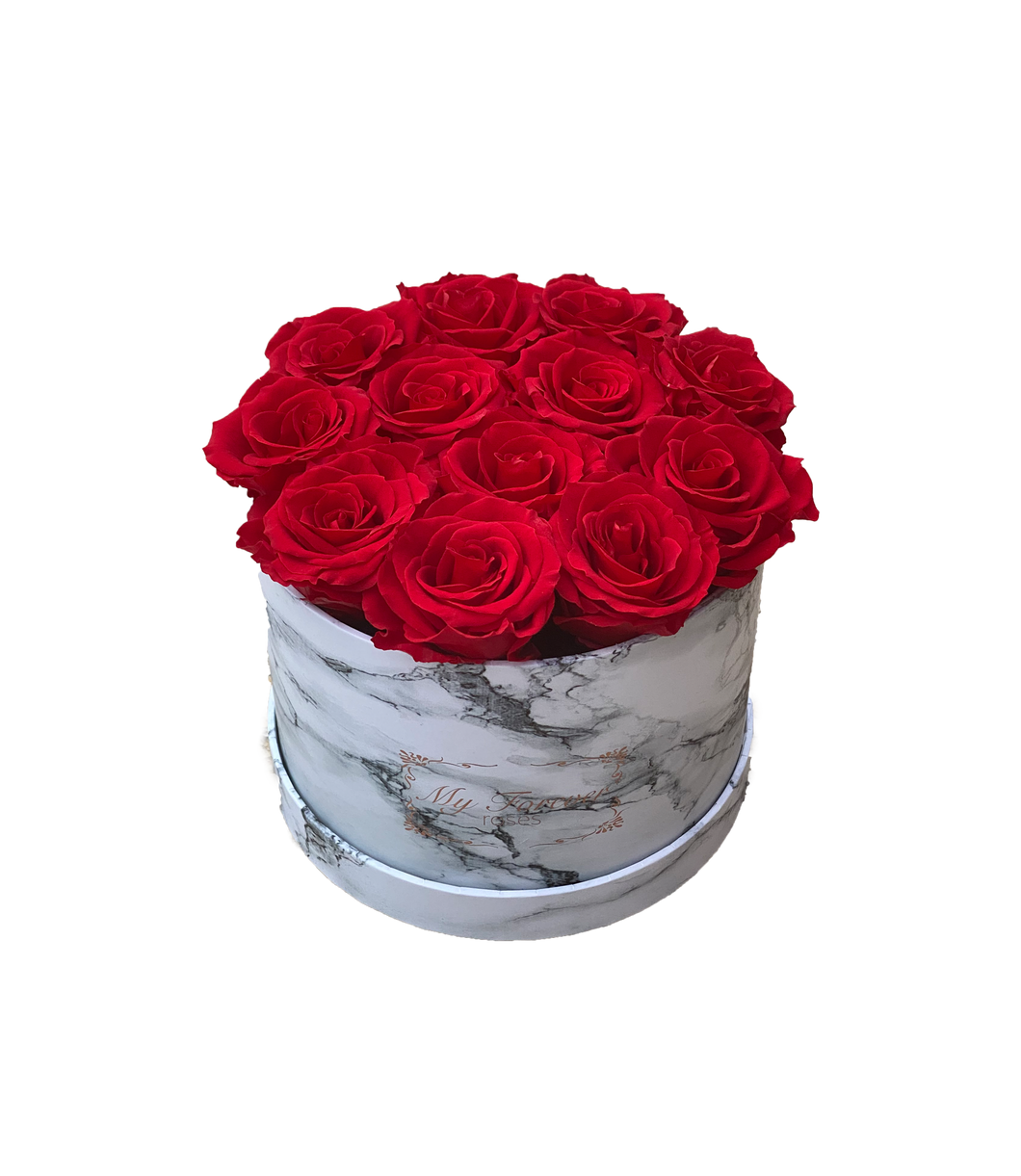 Round Marble Box - Red Roses