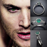 Dean's Green Eye Stone Silver Ring