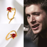 Team SPN Resizeable Rose Ring - Dean/Sam/Cas