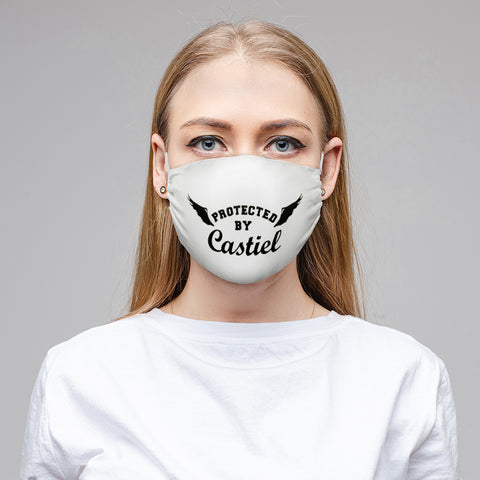 V - PROTECTED BY CASTIEL White Cloth Face Mask