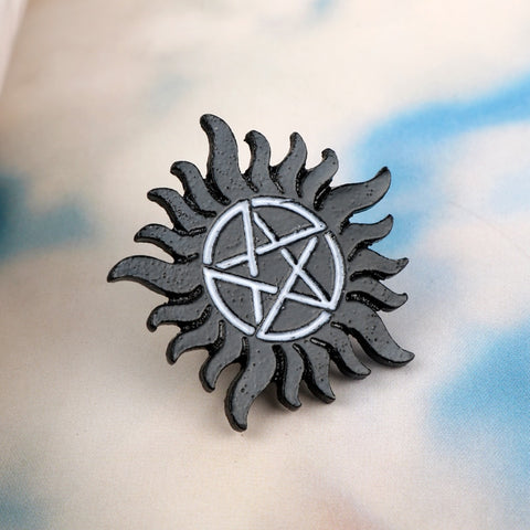 Supernatural Brooch Black Pentagram Pin