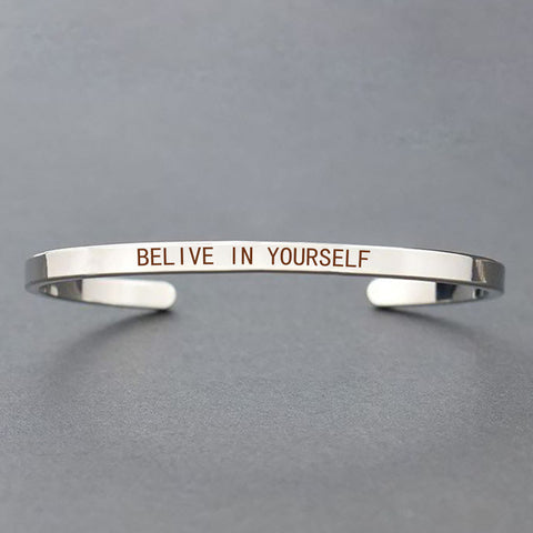 """Never Give Up"" Motivational Bangle"