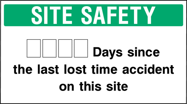 """SITE SAFETY - **** Days since the last lost time accident on this site."" Sign"