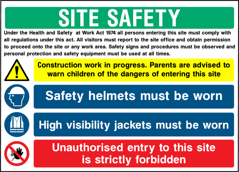 """SITE SAFETY - Work in progress, children, safety helmets, high visibility jackets, unauhorised entry."" Sign"