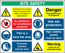 """SITE SAFETY - Work in progress, children, unauthorised personnel, hard hat, protective footwear, demolition, ear protectors, high visibility jacket, overhead loads"" Sign"