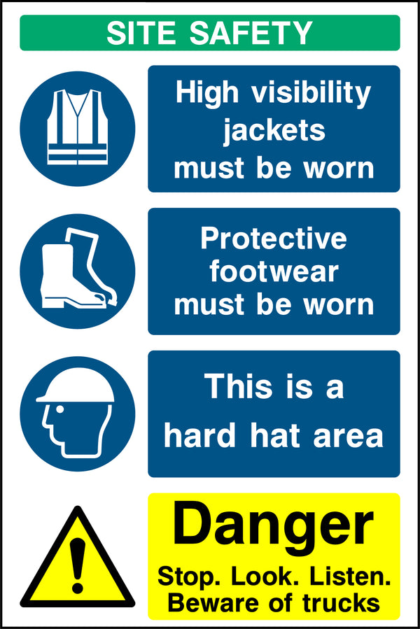 """SITE SAFETY -  High visibility jackets, protective footwear, helmets, trucks"" Sign"