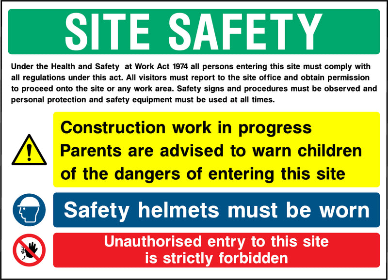 """SITE SAFETY - Work in progerss, children, helmets, unauthorised entry"" Sign"
