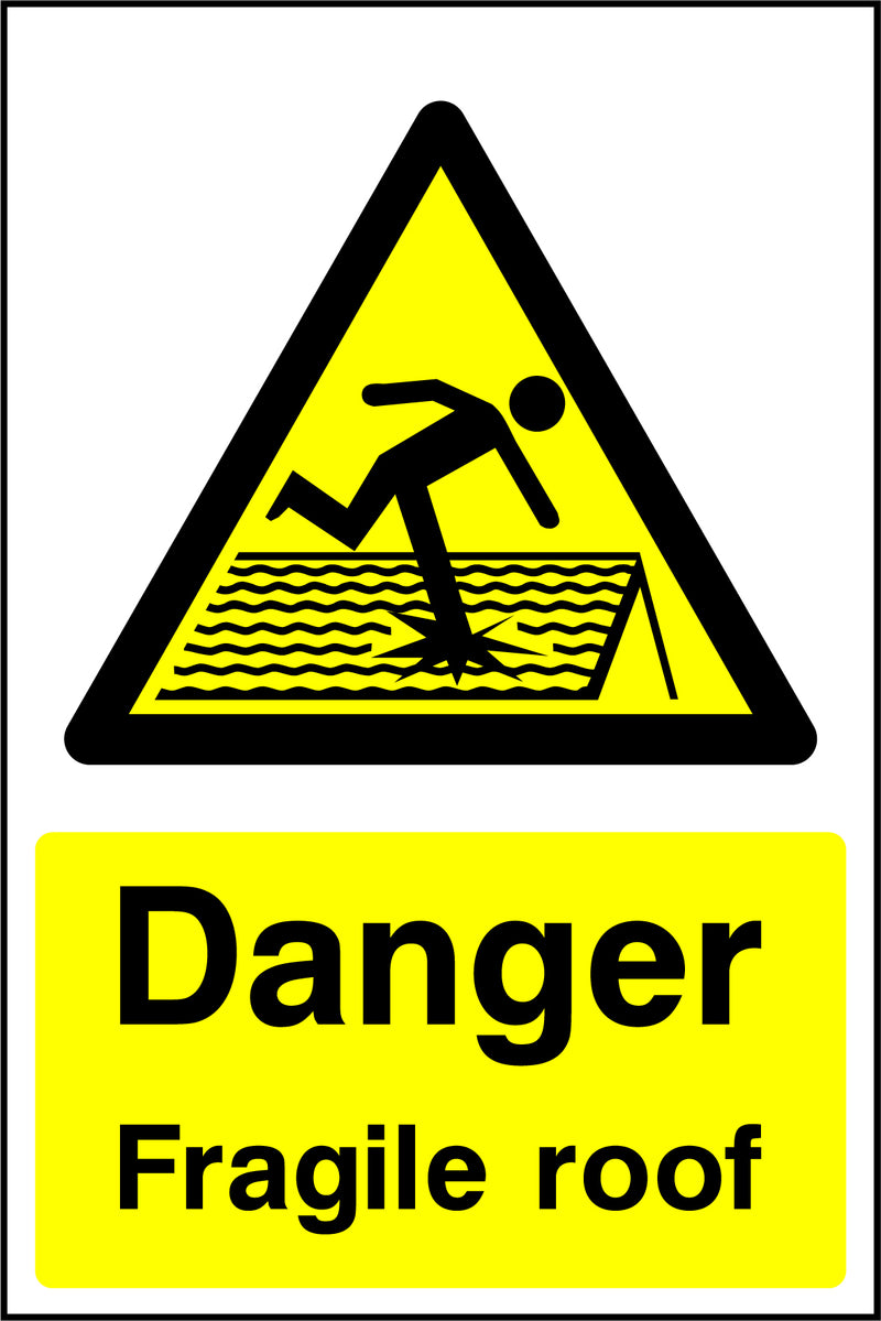 """Danger. Fragile roof."" Sign"
