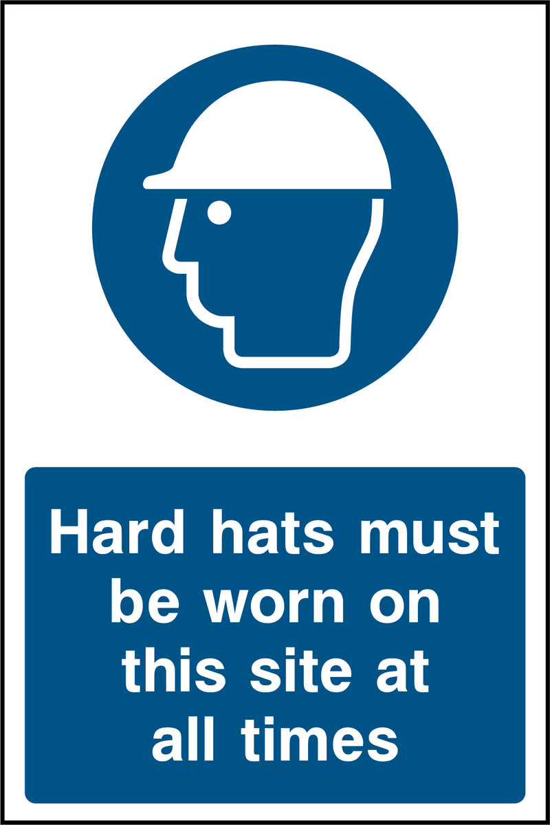 """Hard hats must be worn on this site at all times."" Sign"