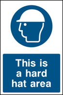 """This is a hard hat area."" Sign"