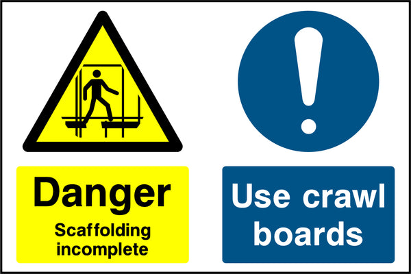 """Danger. Scaffolding incomplete. Use crawl boards."" Sign"