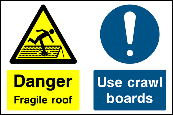 """Danger. Fragile roof. Use crawl boards."" Sign"