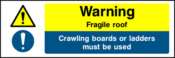 """Warning. Fragile roof. Crawling boards or ladders must be used."" Sign"